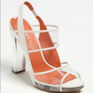 Via Spiga V Clair White Clear Chunky Heels Sandals